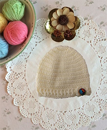 Buttercup From KnittingNani Cap With Fancy Buttons - Off White