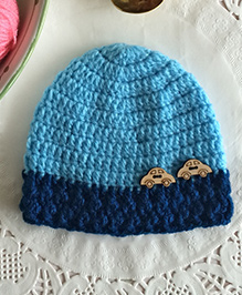 Buttercup From KnittingNani Cap With Car Applique - Turquoise Blue
