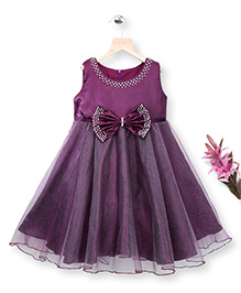 Simply Cute Dress With Pearls On Neckline & Bow - Plum