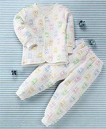 Gigilily Bear Print Shirt & Pant Set - White