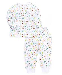 Babyhug Full Sleeves Printed Night Suit - White