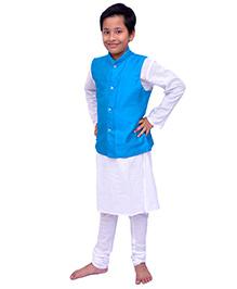 Kilkari Kurta Pajama And Jacket Set - Blue White