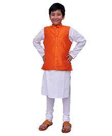 Kilkari Kurta Pajama And Jacket Set - Orange White