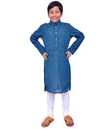 Kilkari Full Sleeves Kurta Pajama Set - Blue