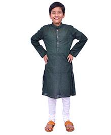 Kilkari Full Sleeves Kurta Pajama Set - Dark Green