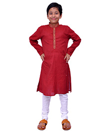 Kilkari Full Sleeves Kurta Pajama Set - Red