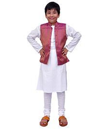 Kilkari Kurta Pajama And Jacket Set - Purple White