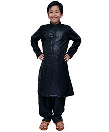 Kilkari Full Sleeves Kurta Pajama Set With Sequins - Black