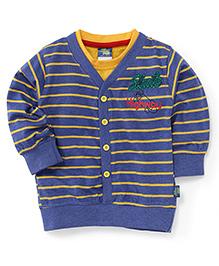 Cucu Fun Full Sleeves Stripes Front Open T-Shirt - Blue