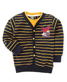 Cucu Fun Full Sleeves Stripes Front Open T-Shirt - Black Yellow