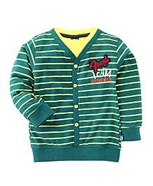 Cucu Fun Full Sleeves Stripes Front Open T-Shirt - Green