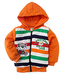 Cucumber Full Sleeves Stripes Winter Wear Hoodie - Orange
