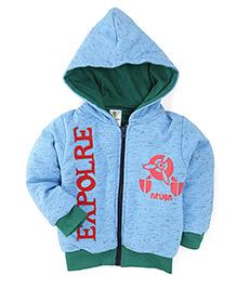 Cucumber Full Sleeves Printed Winter Wear Hoodie - Blue