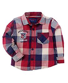 Cucumber Full Sleeves Checks Shirt - Red Blue Grey