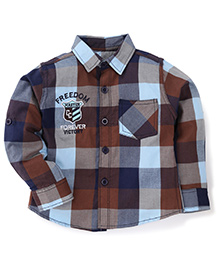 Cucumber Full Sleeves Checks Shirt - Blue Brown Grey