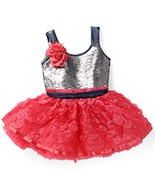 Bluebell Singlet Party Frock Sequin Finish Bodice - Grey & Red