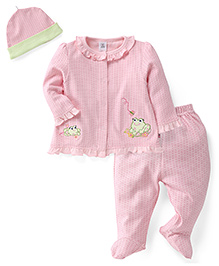 ToffyHouse Full Sleeves Top Bootie Legging And Cap Set - Light Pink
