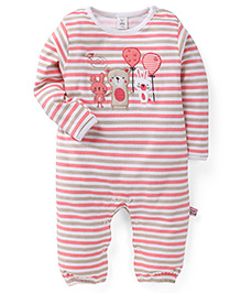 ToffyHouse Full Sleeves Striped Sleep Suit With Embroidery - Pink & White