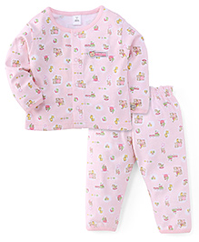 ToffyHouse Full Sleeves Night Suit Multiprint - Light Pink