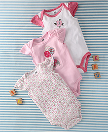 Hudson Baby Cat Print Set Of Onesie - Pink & White
