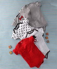 Hudson Baby Gentleman Print 5 Piece Oneise Set  - Grey & Red