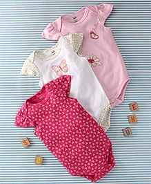 Hudson Baby Butterfly Print Set Of 3 Onesie - Pink & White