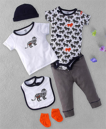 Yoga Sprout Lion Print Multi Piece Set - White & Grey