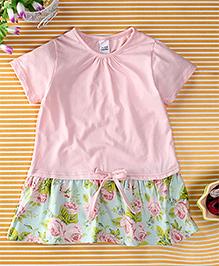 Yiyi Garden Flower Print Dress - Light Pink