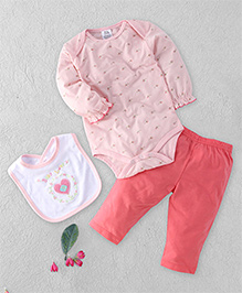 Baby Babala Heart Print Onesie Set - Pink