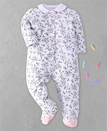 Little Me Floral Print Footed Romper - White & Pink