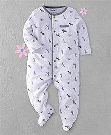 Little Me Zebra Print Footed Romper - Grey