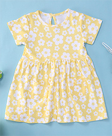 Yiyi Garden Flower Print Baby Dress - Yellow