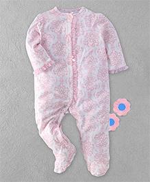 Little Me Floral Print Footed Romper - Pink