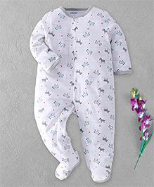 Little Me Zebra & Star Print Footed Romper - White