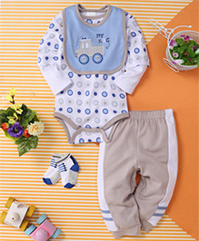 Kids Pie Truck Print Onesie & Pant Set With Bib - White Brown & Blue