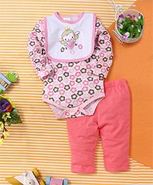 Baby Babala Heart Print Onesie Set - Pink & Multicolour