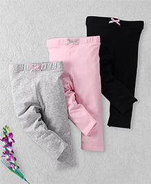 Luvable Friends Set Of 3 Leggings - Grey Pink Black