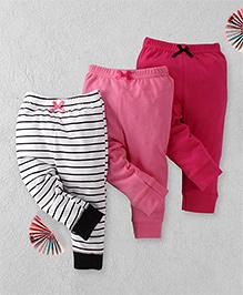 Luvable Friends Set Of 3 Leggings - Pink & White