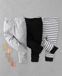 Luvable Friends Set Of 3 Leggings - Grey White Black