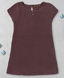 Boutchou Half Sleeves Dress -  Brown