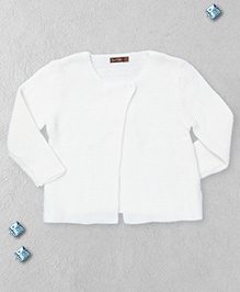 Boutchou Full Sleeves Baby Sweater - White
