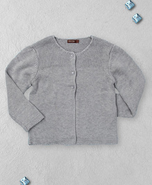 Boutchou Full Sleeves Sweater With Front Buttons - Grey