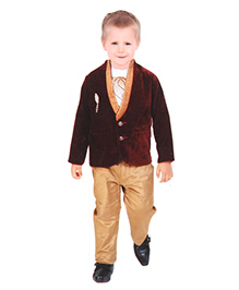 Kreesh 3 Piece Party Suit With Brooch - Wine Red & Brown