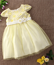 Mini World Net Floral Dress - Yellow