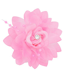 Miss Diva Queen Elegant Flower With Beads Alligator Clip - Light Pink