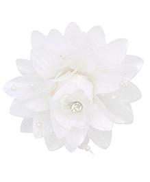 Miss Diva Queen Elegant Flower With Beads Alligator Clip - White