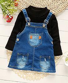 Pre Order - Petite Kids Full Sleeves Top And Dungaree Skirt Set - Black Blue