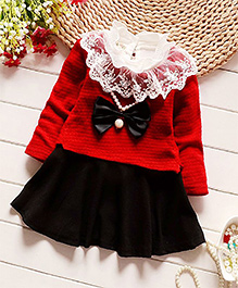 Pre Order - Petite Kids Full Sleeves Lace Neck Collar Frock - Red
