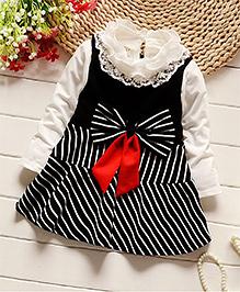 Pre Order - Petite Kids Full Sleeves Lace Neck Dress Stripes Print - Black