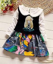 Pre Order Petite Kids Full Sleeves Dress World Map Print - Black